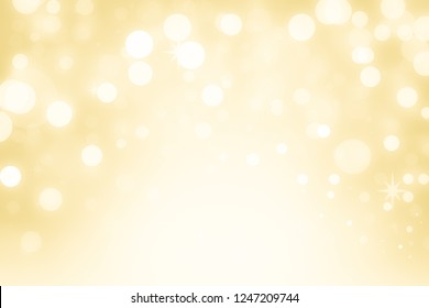 Christmas Background. Golden Holiday Abstract Glitter Defocused Background With Blinking Stars. Blurred Bokeh