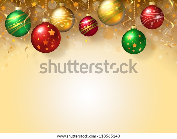 Christmas background with green, red and gold balls