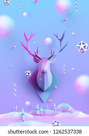 Christmas background with low poly deer, can be used for christmas card, greating card, poster, leaflet, party and holiday event