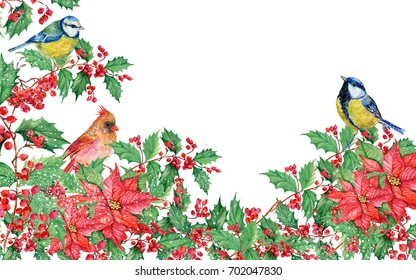 Christmas background with mistletoe ,poinsettias ,birds, red cardinal,titmouse watercolor