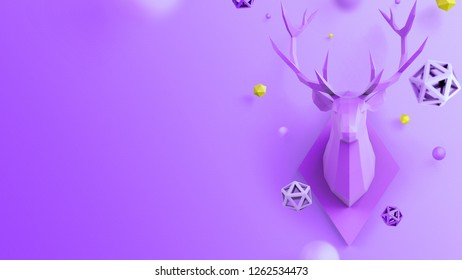 Christmas background in purple color with low poly deer, can be used for christmas card, cover and other printed products