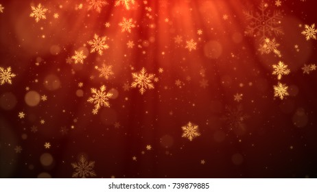 Christmas background (red theme) with snowflakes, shiny lights and particles bokeh in stylish and elegant theme.