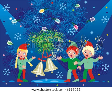 christmas background with ringing bells and three cute caroling elves for vector eps see image