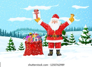 Christmas background. Santa claus with bag with gifts. Winter landscape with fir trees forest and snowing. Happy new year celebration. New year xmas holiday. illustration flat style