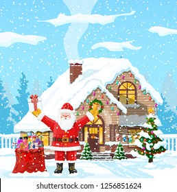 Christmas background. Santa claus with bag with gifts. Winter landscape with fir trees forest and snowing. Village. Happy new year celebration. New year xmas holiday. illustration flat style