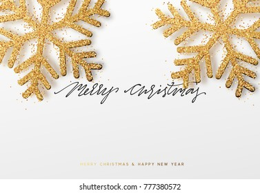 Christmas background with Shining gold Snowflakes. Lettering Merry Christmas card  Illustration.