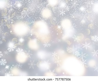 Christmas background with snowflakes and bokeh lights