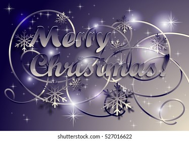 Christmas background with snowflakes and inscription