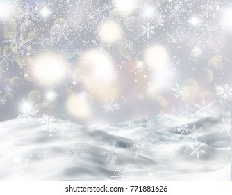 Christmas background with snowy landscape, snowflakes and bokeh lights