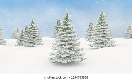 Christmas background winter scenery landscape with falling snow and blue sky. 3D render