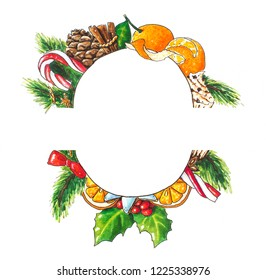 Christmas background with wreath on white. Hand drawn sketch with candies