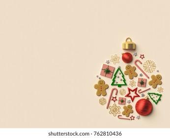 Christmas ball arrangement background. 3d rendered illustration.