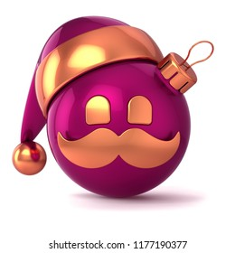Christmas ball avatar Santa head face stylized hat decoration ornament funny red golden. New Year's Eve bauble emoticon. Merry Xmas mustache toy souvenir. 3d rendering