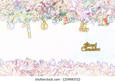 Christmas ball and bauble decorative with copy space use for greeting text to be greeting card in colorwater style make with filter program.