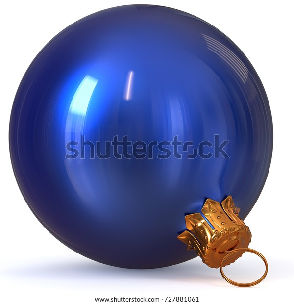 Christmas ball blue decoration New Year's Eve bauble hanging adornment traditional Happy Merry Xmas wintertime ornament polished closeup. 3d rendering illustration
