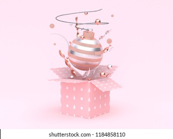 christmas ball floating gift box opening pink background 3d rendering