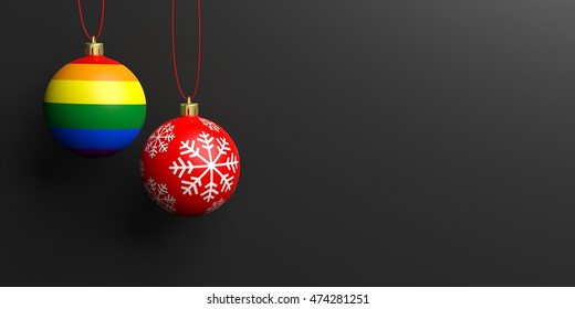 Christmas ball and gay flag ball hanging on black background, copy space, front view. 3d illustration