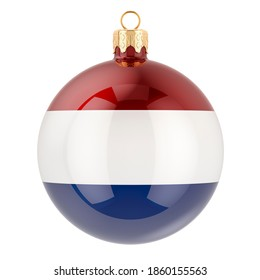 Christmas ball with the Netherlands flag, 3D rendering isolated on white background