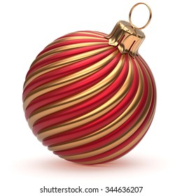 Christmas ball New Year's Eve decoration golden red shiny convolution lines bauble wintertime hanging adornment souvenir. Traditional ornament happy winter holidays Merry Xmas symbol. 3d render