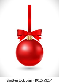 christmas ball  with red bow on white background