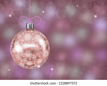 Christmas ball with snowflakes on abstract blurred background. 3c d render.