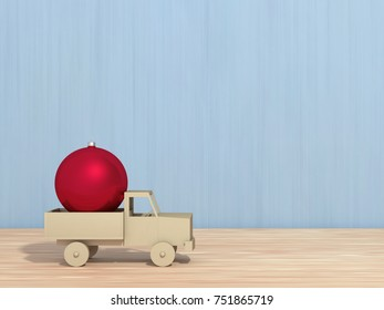 Christmas ball in a toy car, 3D illustration