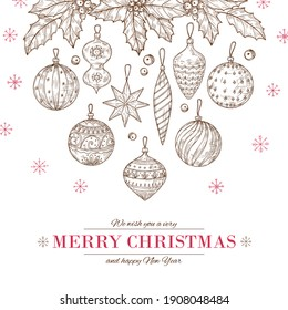 Christmas balls background. Xmas tree decorations and holly leaves and berries. Winter holidays, new year doodle festive poster