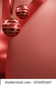 Christmas balls, Christmas bauble hanging on red ribbon on red background with empty space for text A3 paper size 3d render