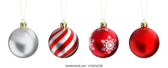 Christmas balls baubles bombs bulbs colorful decoration isolated on white background. Xmas glass ball. 3D rendering.