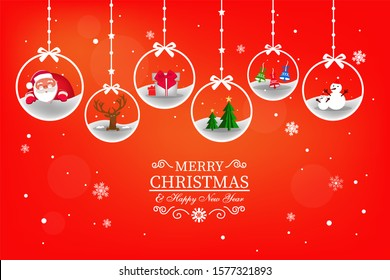 Christmas balls on the red background card
