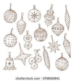 Christmas balls sketch set. Xmas tree decorations. Winter holidays and new year hand drawn festive collection