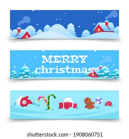 Christmas banners. x-mas background with snow, houses, sweets. Cartoon winter holidays banners