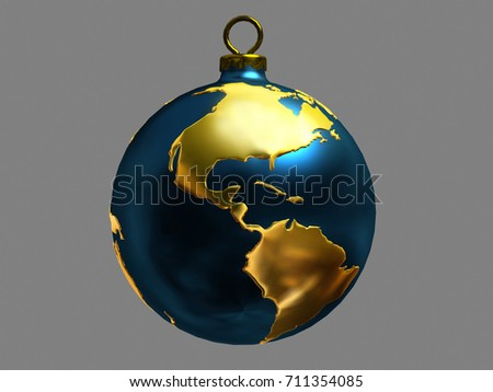World Map 3d View.Christmas Bauble Ornamented World Map View Stock Illustration