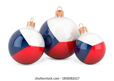 Christmas baubles with Czech Republic flag, 3D rendering isolated on white background