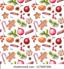 Christmas baubles, gingerbread cookies, spruce tree branches, red berries, cinnamon, candycane, orange. Repeating pattern. Watercolor