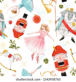 Christmas beautiful watercolor pattern, fairy tale nutcracker. Ballerina and princess, three-headed mouse king, baby horse and bugle. Berry and green leaves of mistletoe. isolated white background.