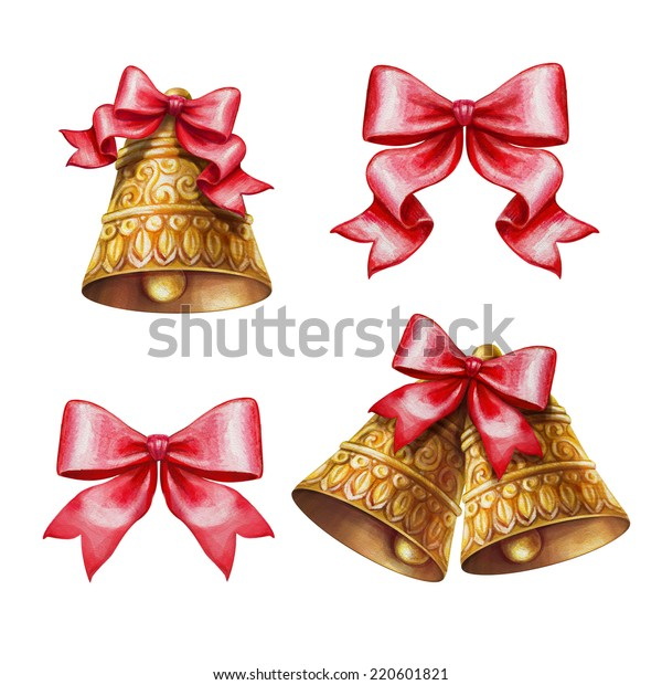 Christmas Bells Clipart.Christmas Bells Bows Clipart Set Isolated Stock Illustration
