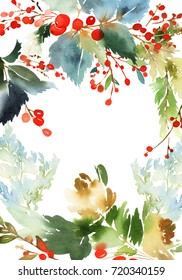 Christmas with berries watercolor postcard.