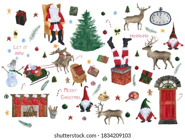 Christmas big set with Santa Claus, tree, deer, gnomes, fireplace, Christmas door, mulled wine, gifts, clock, snowman, Santa's sleigh, candles, armchair, firewood etc. Watercolor illustration.