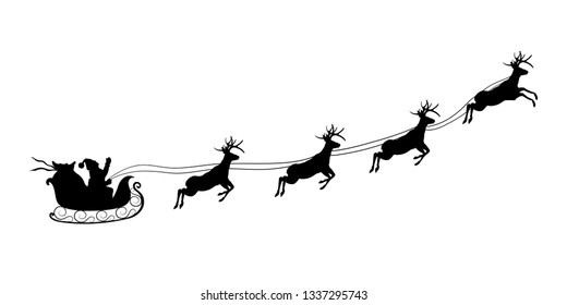 Christmas black silhouette. Santa Claus riding sleigh with deers. Winters new year landscape. Holidays background