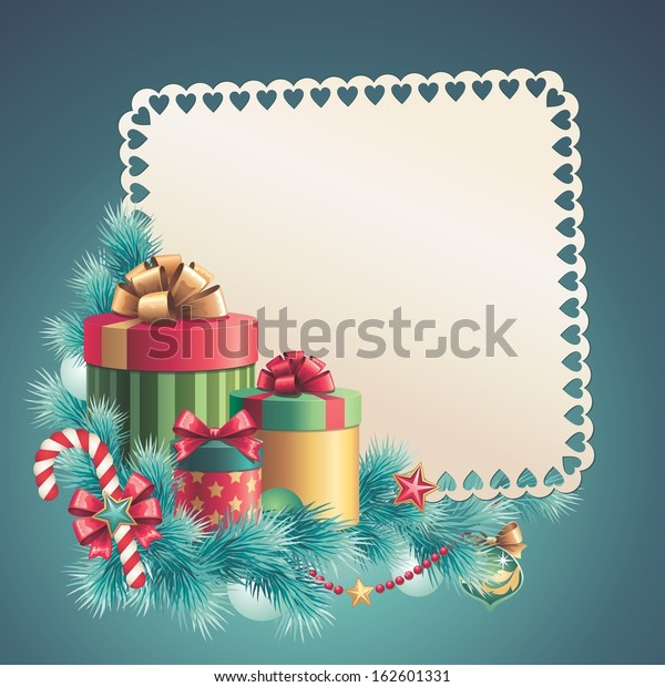 Christmas Blank Banner Template Greeting Card Stock Illustration