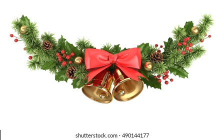 Christmas border with christmas decoration isolated on white 3d illustration.