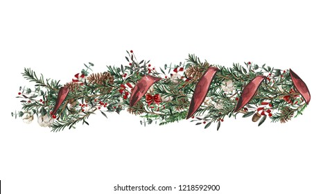 Christmas border design elements, floral garland, watercolor illustration isolated on white background