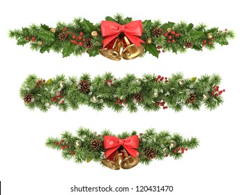 Christmas borders from the decorated  fir tree branches.