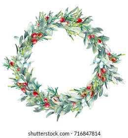 Christmas botany illustration. Watercolor winter floral wreath. Hand painted tree branches composition with mistletoe, rosemary and red berries