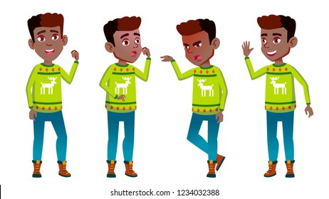 Christmas Boy Schoolboy Kid Poses Set. Primary School Child. Cheerful Pupil. Emotional. For Banner, Flyer, Web Design. Isolated Illustration