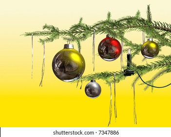 Christmas branch with Christmas Balls and tinsel on a tree with a candle light
