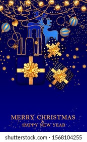 Christmas bright blue background, gift boxes decorated with a golden big bow, shiny tinsel, confetti, balls, deer, lights of illumination, electric garland, Happy New Year, 3D rendering, mixed media