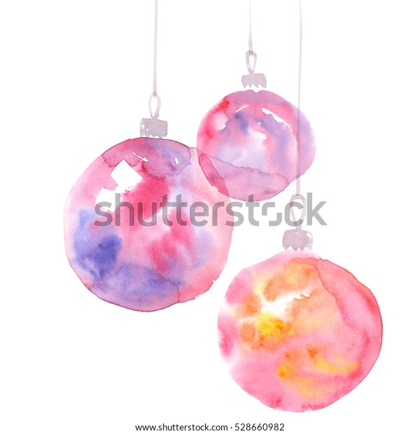 Christmas Bulbs Hand Made Watercolor Illustration Stock