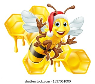 A Christmas bumble bee cartoon character in a Santa Claus hat with a honey dripping bumblebee comb hive honeycomb in the background